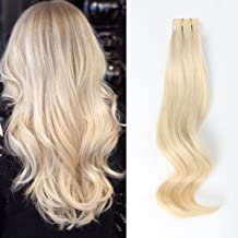 ABH AmazingBeauty Hair Semi-permanent Real Remi Remy Human Tape in Human Hair Extensions 50g 20pcs Skin Weft Tape Attached Invisible Seamless Reusable Platinum Ash Blonde Color 60 14 Inch