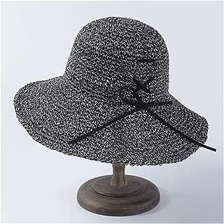 Summer hat Female Simple Wild Folding Straw hat Sun Visor Student Travel hat` TuanTuan (Color : Grey)
