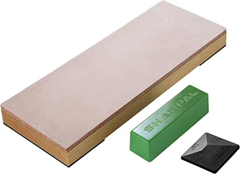 BeaverCraft Stropping Set Leather Stropping Kit Leather Strop with Green and White Polishing Compounds Stropping Leather Buffing Compound Set #2