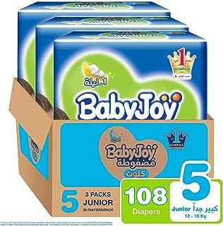 Babyjoy Cullotte Pants Diaper, Jumbo Pack Junior Size 5, Count 108, 15 - 22 KG