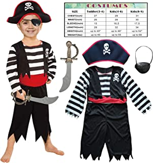 Children's Pirate Costume for Toddlers Boys Girls with All in one Pirate Suit,Cutlass,Eyepatch