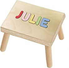 KIDZCO Personalized Name Puzzle Stool 1-12 Letters Primary Letters or Pastel Colors