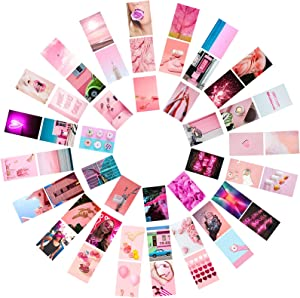 50PCS Pink Aesthetic Pictures Photo Wall Collage Kit With 200 Glue Points Photo Collection College Dorm Decor for Girl and Boy Teens, Trendy Wall Prints Kit, Small Poster for Room Bedroom Aesthetic