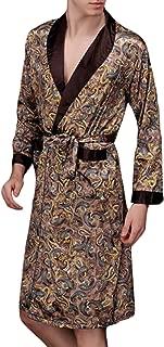 YIMANIE Mens Satin Robe Long V Neck Silk Solid Lightweight Kimono Bathrobe Sleepwear
