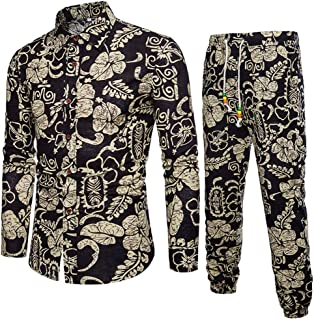 Men's 2 Piece Tracksuit Flower Shirt Long Sleeve Shirts and Pants Suit Casual Hawaiian