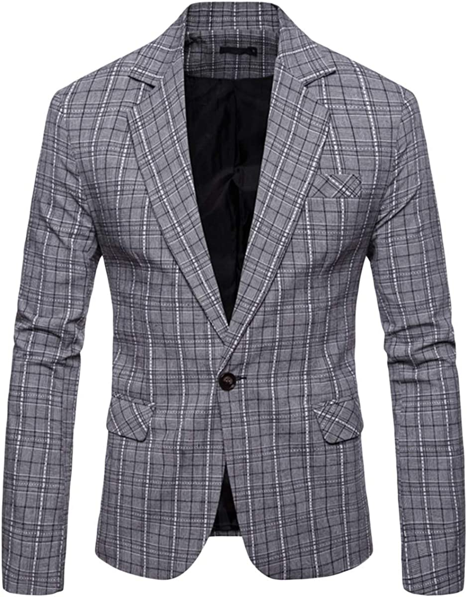 Mens Plaids Suit Blazer Slim Fit D Lapel Notch One Button Directly managed store Casual 1 year warranty