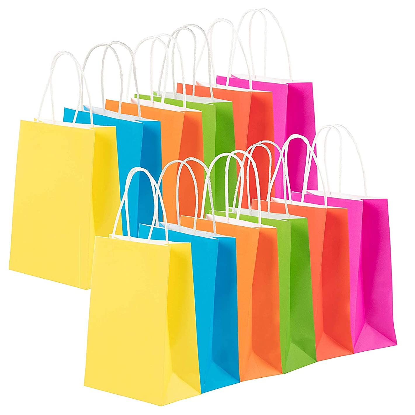 Juvale 48-Pack Bulk Small Neon Colored Paper Gift Bags with Handles for Retail, Shopping, Party Favors, Fuchsia Pink, Red, Blue, Green, Orange, Yellow, 6.3 x 3.1 x 8.6 Inches