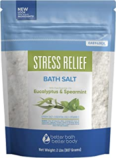Stress Relief Bath Salt 32 Ounces Epsom Salt with Spearmint and Eucalyptus Essential Oils Plus Vitamin C, All Natural Ingredients