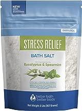 Stress Relief Bath Salt 32 Ounces Epsom Salt with Spearmint and Eucalyptus Essential Oils Plus Vitamin C, All Natural Ingredients