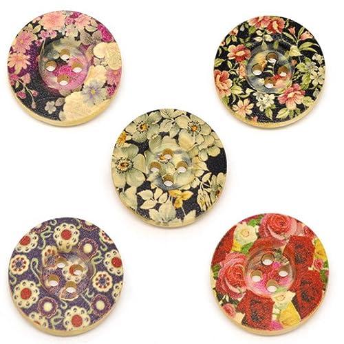 Souarts Mixte Rond Fleur Imprime 4 Trous Boutons en Bois Lot de 50pcs