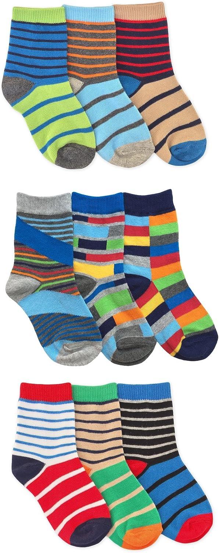 Jefferies Socks Boys Funky Stripes Variety Crew Socks 9 Pair Pack