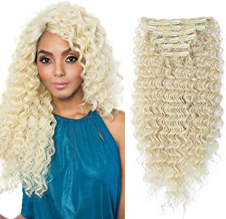 Clip in Hair Extensions Synthetic hair Clip in 140G 7Pcs/Lot Japanese Heat Resistant Fiber Hairpieces Deep Wave/Body Wave/Straight hair (Deep Wave, Bleach Blonde 613#)