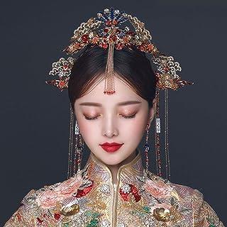 JJZXD Hair Accessories Sets Hairpin Hair Headdress Pin Red Bridal Hair Jewelry Traditional Hairpin Headpiece Headband