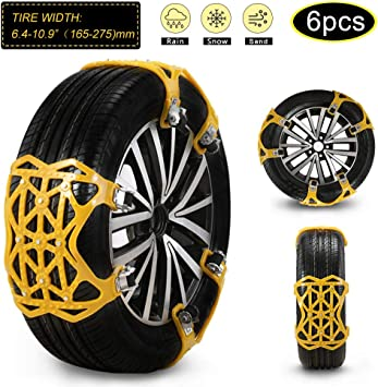 """soyond 2021 Newest Car Snow Chains 6 Pcs Emergency Tire Chains for Pickup Trucks Anti Slip Snow Chains for SUV Automotive Exterior Accessories Tire Chains(Tire Width 6.4-10.9"""" 165-275mm): image"""
