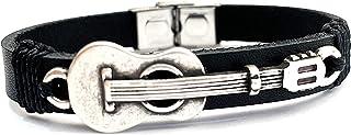 Pulsera de Cuero con Guitarra Española Decorativa. A Medida.
