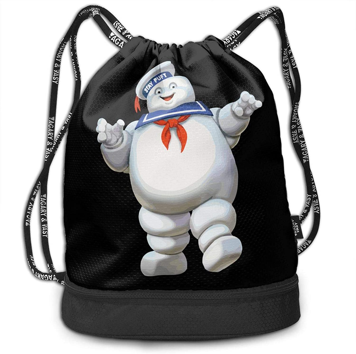 Cheny Drawstring Backpack Ghostbusters Stay Googly Sports Gym Cinch Sack Bag for Kids Men and Women Shoulder Bags