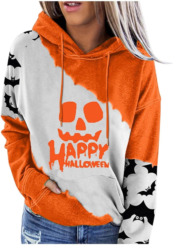 Women's Halloween Sweatshirts Hoodie Tops,Long Sleeve Hooded Pullover Tops,Halloween Hoodies Sweatshirts for Women