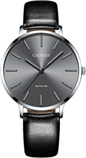 CADISEN Women's Minimalist Analog Quartz Waterproof Wrist Watch with Leather Band Black/Blue