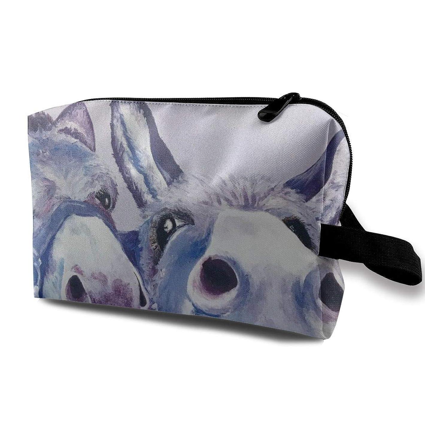 散歩に行くテナントスーツケースMaxpowerful 紫 ロバ 動物の肖像画 農家 ギフト 化粧ポーチ コスメポーチ 大容量 おしゃれ 化粧品収納 防水 機能的 メイクポーチ 旅行 仕切り 高級感 小物入れ