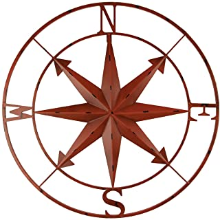 Zeckos Distressed Metal Indoor Outdoor Compass Rose Large Wall Hanging Mounted 28 Inch-Coral