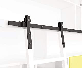 DIYHD 10FT Sliding Track Black Rolling Library Hardware(No Ladder), kit, Rustic