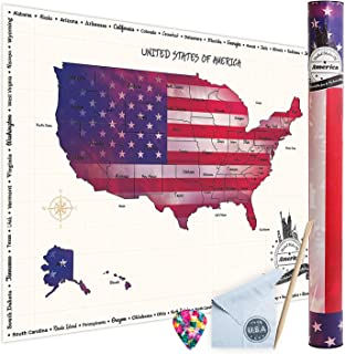 WNG Brands Scratch-Off USA Travel Map - Large Map of The United States for The Wall, Scratch-Off Poster of The USA for Travel, Personalized Travel Map, USA, Travel Tracker, Gifts for Travelers