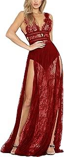 Women's Deep V Neck Sexy Lace See Through High Slit Long Maxi Dress