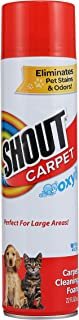 Shout Carpet Aerosol Stain and Odor Foaming Spray with OXY Power | Completely Removes Tough Urine Stains & Prevents Remarking | for Large Areas, Pack of 2, 2 Count