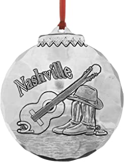 """Wendell August Forge Nashville Music City Ornament, 3.125"""" x 3.5"""" – Hand-Hammered Aluminum Holiday Ornament Perfect for Country Music Fans – Makes a Great Gift - Made in The USA"""