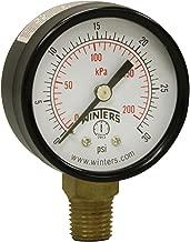 Winters PEM Series Steel Dual Scale Economical All Purpose Pressure Gauge with Brass Internals, 0-30 psi/kpa, 2