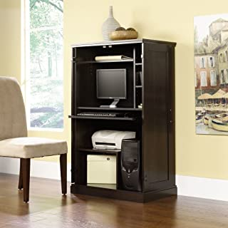 SR Commercial Home Office Computer Armoire Wood Cabinet Dark Cinnamon Cherry Red Finish 3 Adjustable Shelves CPU Tower Heat Stain and Scratch Resistant (Ebony Ash)
