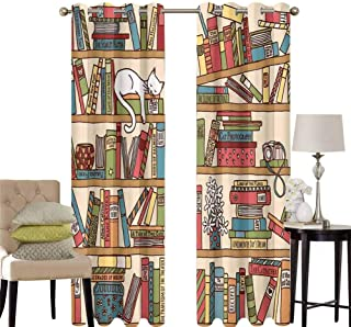 hengshu Cat Blackout Curtains for Bedroom Nerd Book Lover Kitty Sleeping Over Bookshelf in Library Academics Feline Cosy Boho Design Thermal Insulated Soundproof Curtain W52 x L45 Inch Multi
