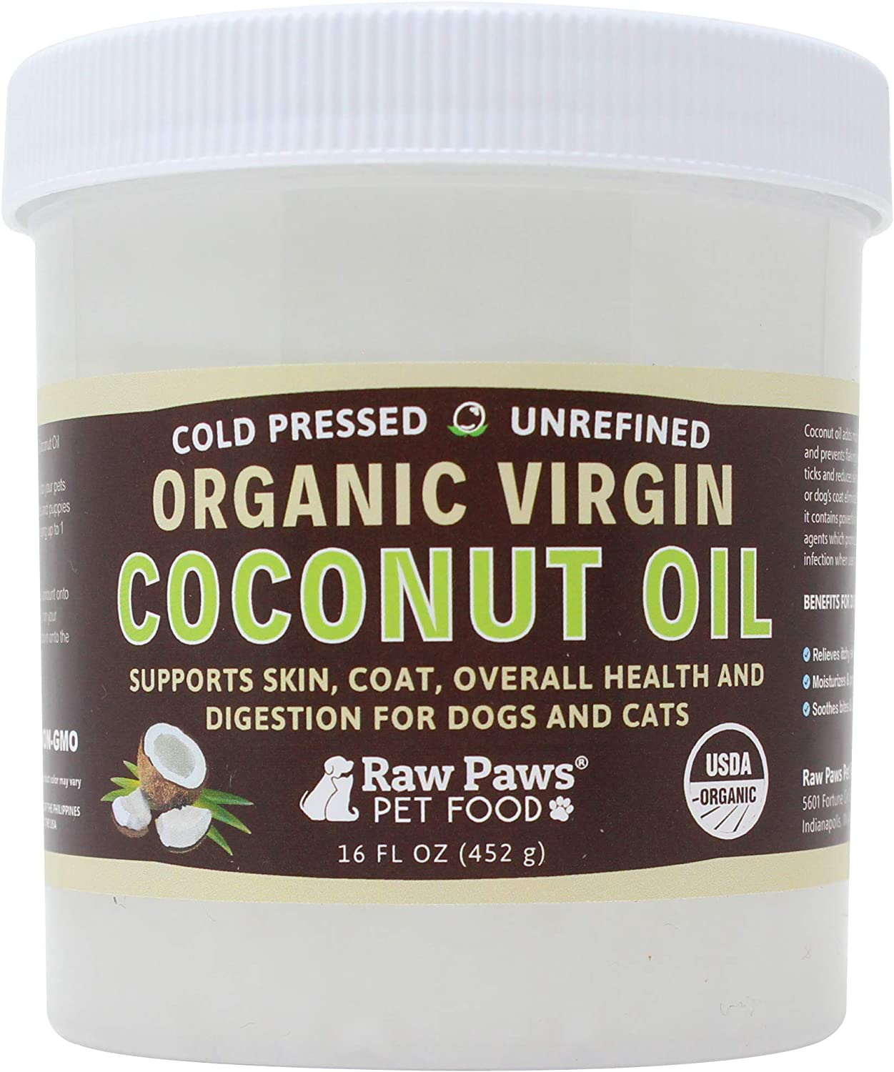 Raw Paws Organic Virgin Coconut Oil for Dogs & Cats, 16oz  Supports Immune System, Digestion, Oral Health, Thyroid  All Natural Allergy Relief for Dogs, Hairball Relief, Tick Flea Control for Dogs