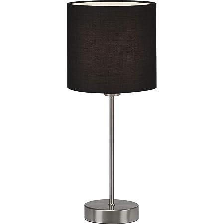 Briloner Leuchten - Lampe de table, lampe de chevet, lampe de bureau, 1x E14, incl. interrupteur à câble, abat-jour en tissu, noir, 160x385 mm (DxH)