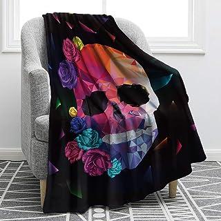 Jekeno Sugar Skull Blanket Soft Warm Rose Design Skeleton Throw Blanket for Kids Couch Bed Sofa 50x60