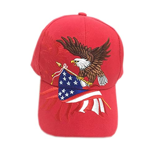 cc3f06ead5671 Aesthetinc Patriotic American Eagle and American Flag Baseball Cap USA 3D  Embroidery
