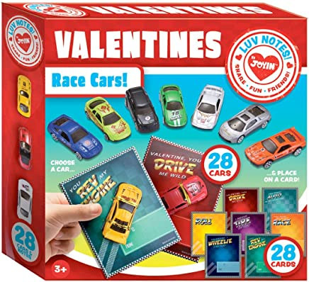 JOYIN 28-Count Valentines Day Gifts Cards for Kids with Die-Cast Racing Cars