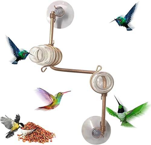 lowest Window Hummingbird Feeder Handcrafted Copper Hummingbird Feeder Multiple Station Modern Hummingbird Feeder high quality Window Mount Hummingbird Feeder Home Décor Glass Bottles with Suction Cups popular (A) sale