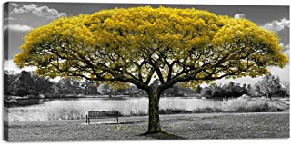 Large Canvas Wall Art for Living Room Black and White Themed Yellow Tree Landscape Picture Print on Canvas Modern Framed Artwork Decoration for Home Bedroom Decor 30x60in