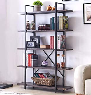 Homissue 5-Shelf Industrial Bookshelf and Bookcase, Rustic Wood and Metal Bookcases Furniture, 70.0