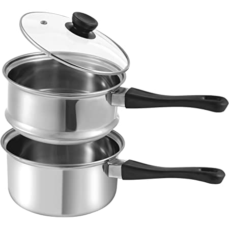 La Patisserie 1.5 Quart Double Boiler w/ 2 Chocolate Molds - 3 Piece Stainless Steel Double Boiler Pot for Melting Chocolate, Candle Making, Soap Melting and Wax Melting