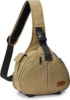 S-ZONE Canvas Camera Sling Bag DSLR Schultertasche Crossbody Rucksack für Objektivstativ, Khaki, small