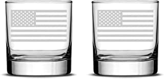 Integrity Bottles Set of 2 Premium American Flag Whiskey Glasses, Hand Etched Old Glory 10oz Rocks Glasses, Made in USA, Highball Gifts, Sand Carved