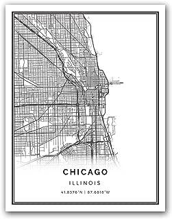 Squareious Chicago map Poster Print | Modern Black and White Wall Art | Scandinavian Home Decor | Illinois City Prints Artwork | Fine Art Posters 8.5x11