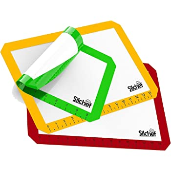 Silicone 3 Piece Non Stick Baking Mats with Measurements 2 Half Sheet Liners and 1 Quarter Sheet Mat, Professional Quality, Non Toxic and FDA Approved, Red, Yellow and Green. By lowpriceever