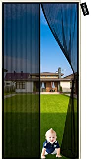 Magnetic Door Curtain 130 x 240 cm Top-to-Bottom Seal Snaps Shuts Automatically & Full Frame Adhesive Tape, Keep Bugs Out...