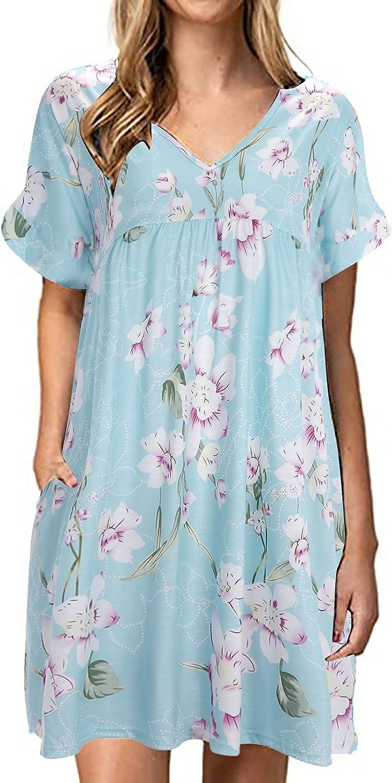 XinantimeWomen's Short Sleeve Mini Dress V Neck Flower Print Swing Dress Pleated Knee-Length Loose Dress Casual Skirt