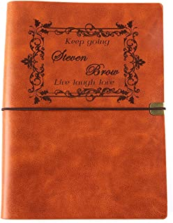 Personalized Leatherette Journal Monogrammed Wide Ruled Soft Cover Writing Notebook Refillable Loose-Leaf 6-Ring Binders Banded Custom Personal Diary(A5-Chestnut)