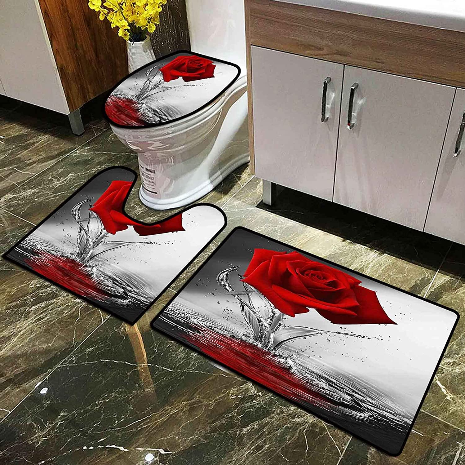 Red Max 44% New Shipping Free Shipping OFF Rose Bathroom Set with Toilet Non-Slip U Rugs Shaped