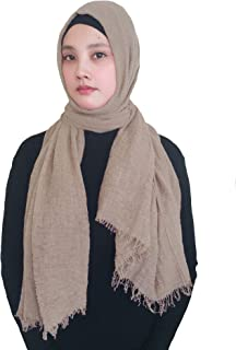 Lina & Lily Solid Color Crepe Crinkled Scarf Hijab with Frayed Edges